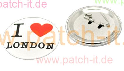 "Anstecknadel Pin Button ""I Love London"" white"