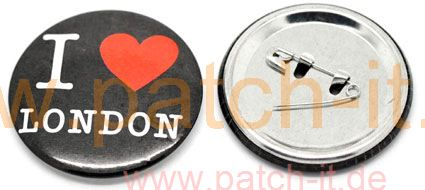 "Anstecknadel Pin Button ""I Love London"" black"