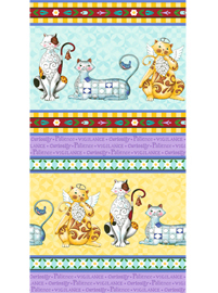 Fancy Felines Border - aqua-yellow