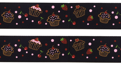 Ripsband Cupcakes - black 25mm