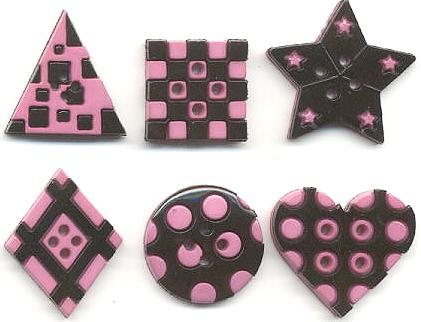 Geometric Buttons - black-pink