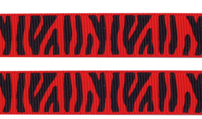 Ripsband Zebra - red-black 16mm