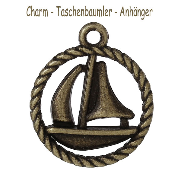 "Charms ""Segelboot"" - altmessing"