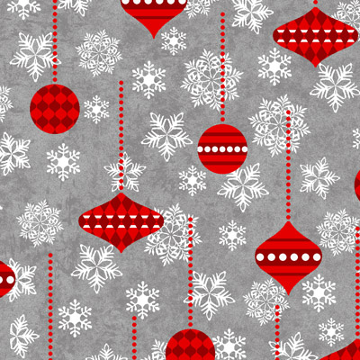 Holiday Frost - Ornaments - red on gray
