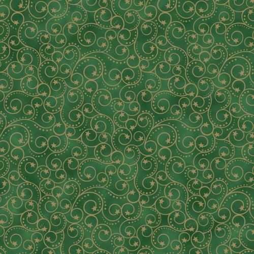 Elegant Christmas metallic - Scroll - green