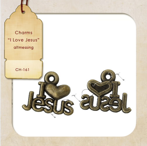 "Charms ""I Love Jesus"" altmessing"