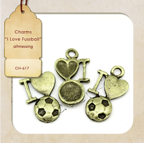 "Charms ""I Love Fussball"" altmessing"