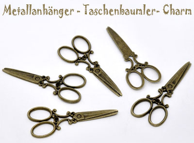 "Charms ""Schere"" 6cm altmessing"
