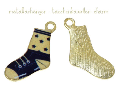 "Charms ""Stricksocke"" blau goldfarbend"