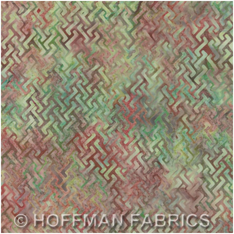 Hoffman Bali Handpaints - ZigZag - old pink/green