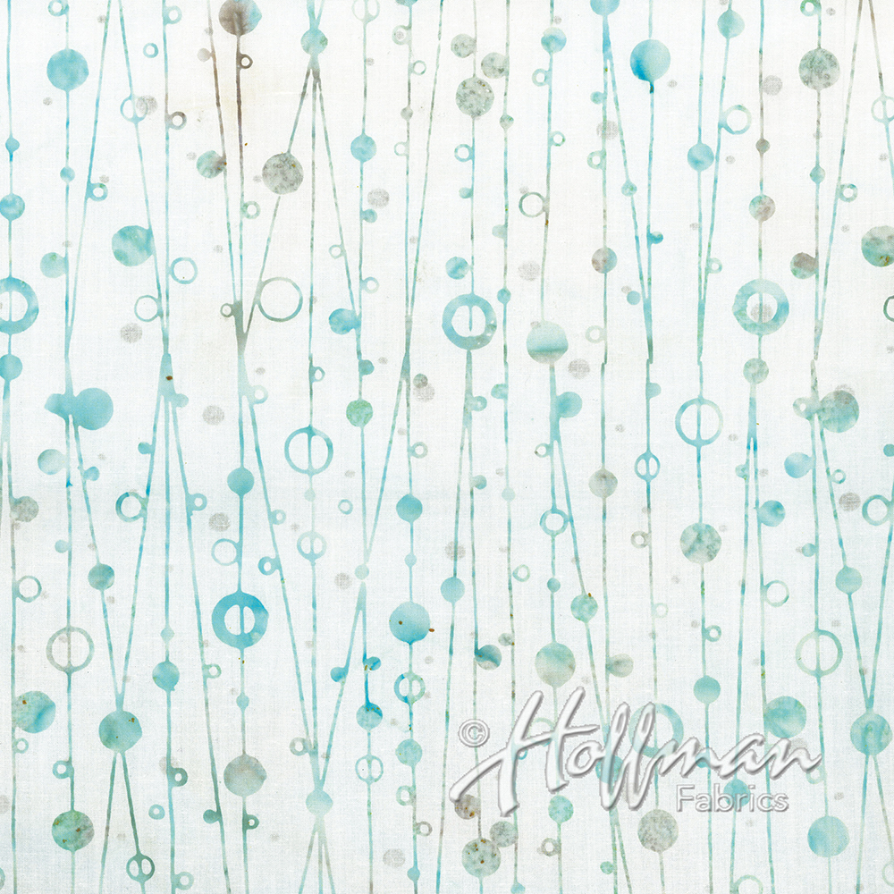 Bali Handpaints - Strokes and Bubbles - white-blue