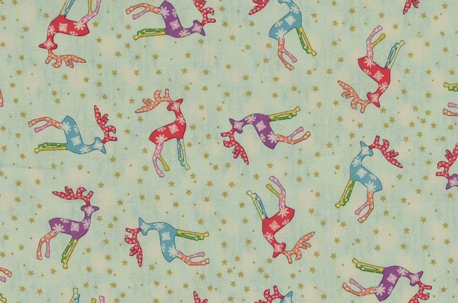 Reindeers allover - blue