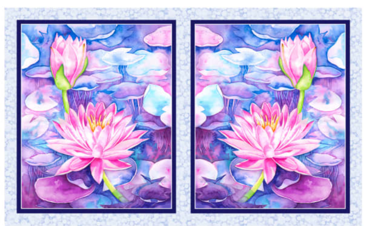 Water Lilies Panel - blue-purple-pink