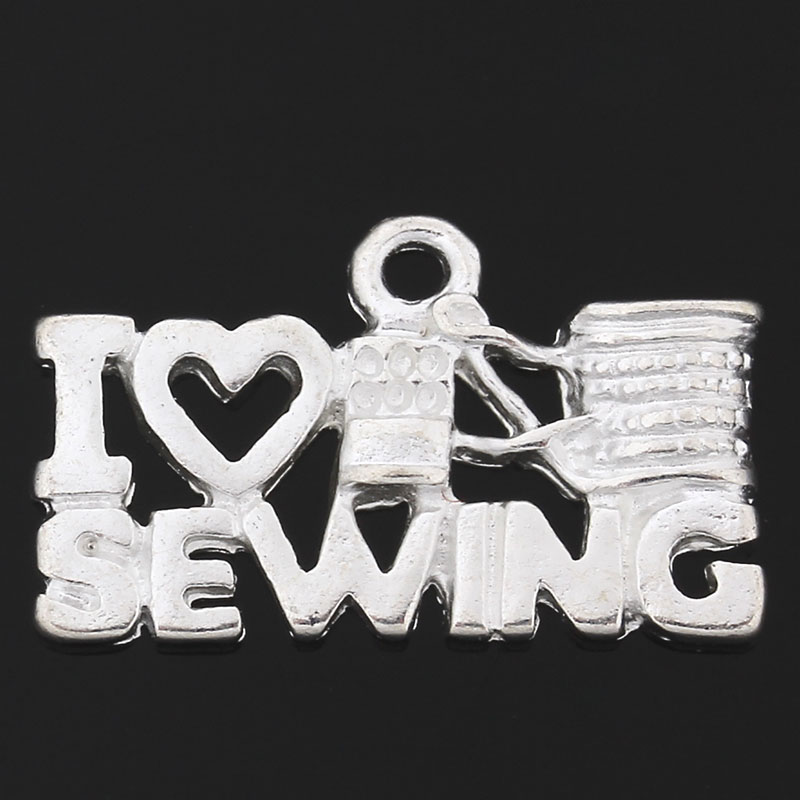 "Charms ""I Love Sewing"" - silberfarbend"