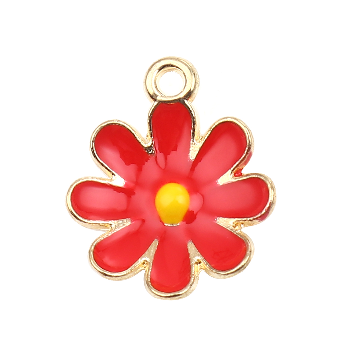 "Charms ""Blume"" - rot-gold"