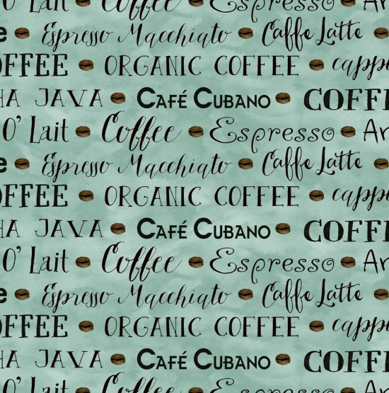 Coffee House - Coffee Words - light teal
