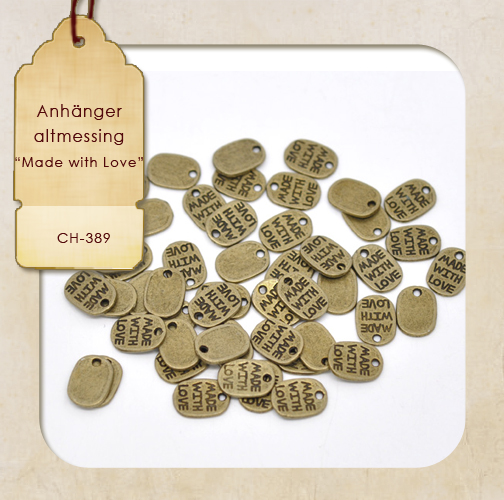 "Charms - Oval ""Made with Love"" - altmessing"