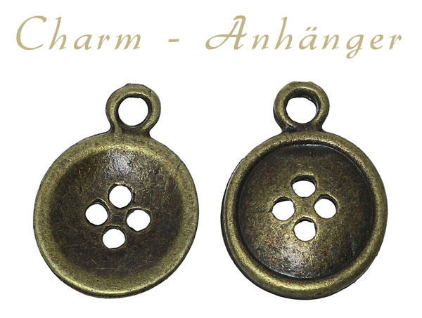 "Charms ""Knopf"" - altmessing"
