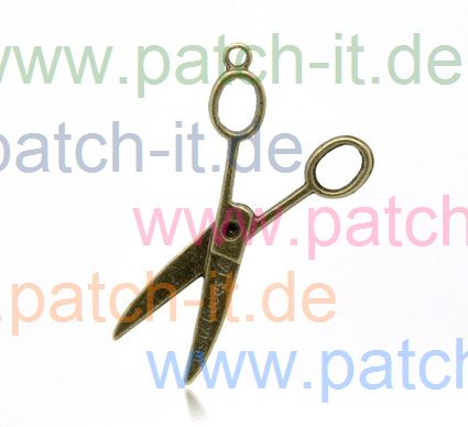 "Charms ""grosse Schere offen"" altmessing"