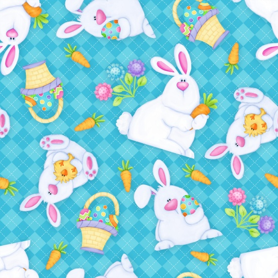 Hippity Hop - Bunnies & Baskets  - turquoise