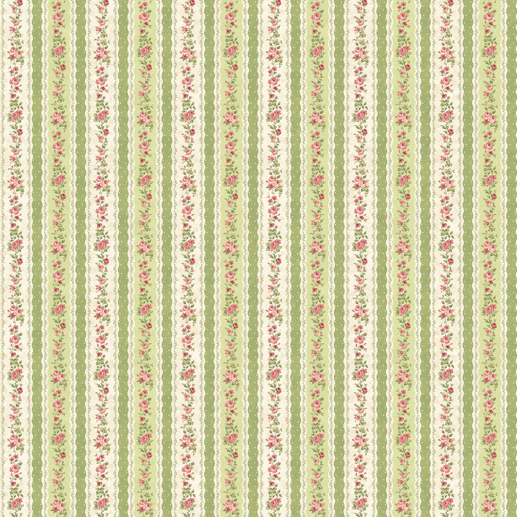 Vintage Rose - Stripes - green