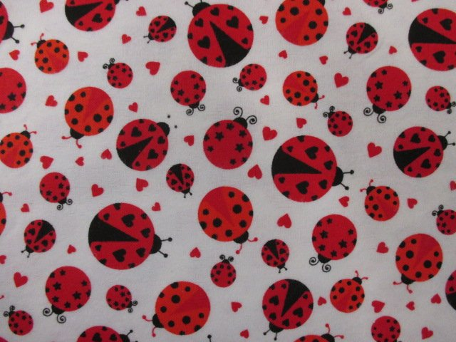 Cuddle Print Flanell - Ladybug - white-red