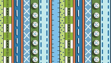 Patchwork Farms - Button Stripe - blue