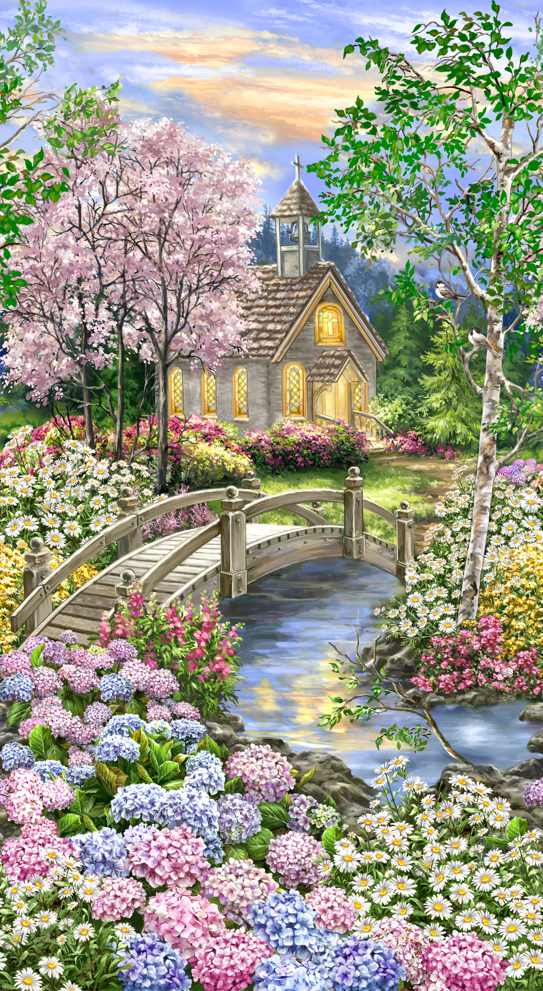 Peaceful Garden - Blooming Forest Chapel - Panel