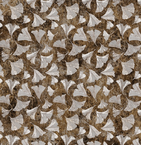 Stonehenge Ginko Woodland - GinKo Leaves - brown-silver