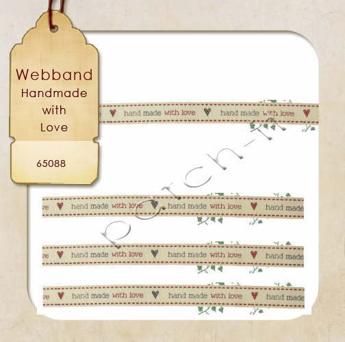 "Webband bedruckt 15mm ""Handmade with Love"""