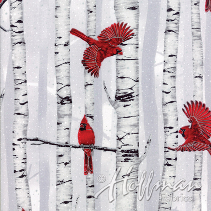 Woodsy Winter - Cardinals - fog-silver